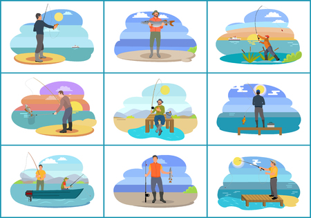 Fishing people surrounded by nature and seascapes. Images set man wearing special uniform and hats. Males floating on blue boat vector illustration Illustration
