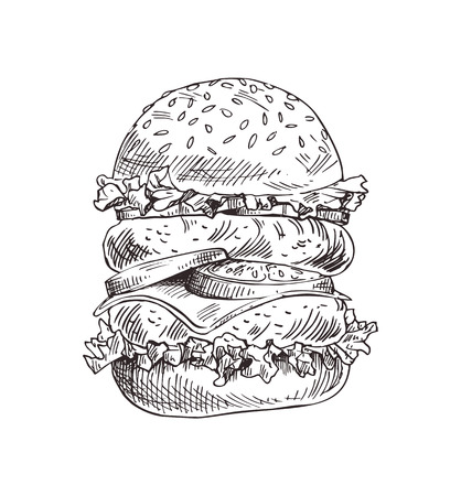 Dibujado a mano ilustración monocromática de vector de hamburguesa doble. Estilo de boceto de insignia de comida rápida para folletos y plantilla de portada de menú de restaurante y cafetería de banner