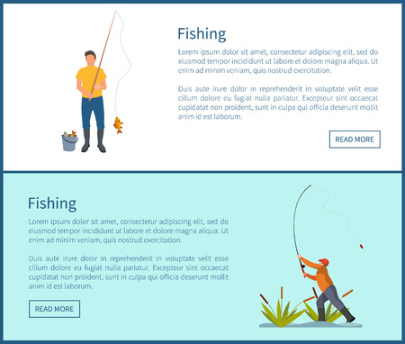 Fishing activities of men posters set with headlines. People with rod and bucket on ground. Male standing surrounded by plants vector illustration
