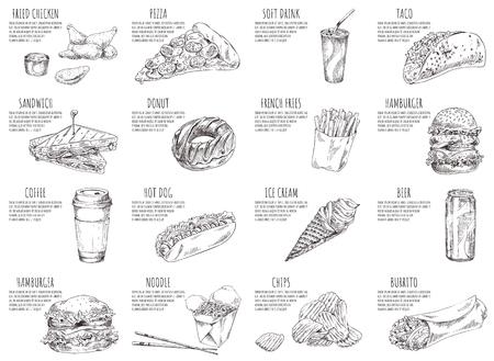 Bocetos de refrescos y pizzas italianas en carteles. Hamburguesas y pollo frito servidos con salsa. Helados y fideos en la ilustración de vector de caja