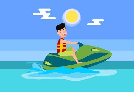 Activité estivale de jet ski en mer, homme portant un gilet de sauvetage sur scooter nautique, divertissement saisonnier et éclaboussures d'illustration vectorielle plane océan. Vecteurs