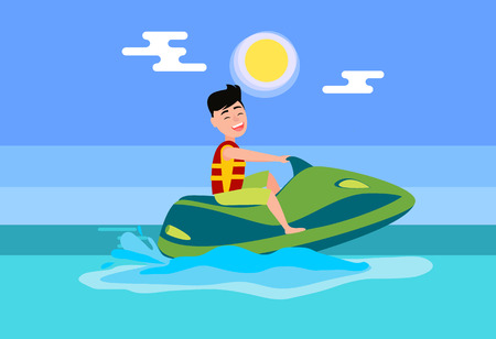 Jet ski summer activity in sea, man wearing life-jacket ride on water scooter, seasonal entertainment and splashes of ocean flat vector illustration.