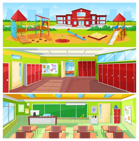 School Interior and Outdoor Yard Colorful Banner 矢量图像