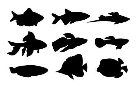 Aquarium Set Fish Silhouette Vector Illustration 스톡 콘텐츠