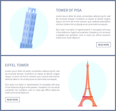 Tower of Pisa and Eiffel Tower Vector Illustration