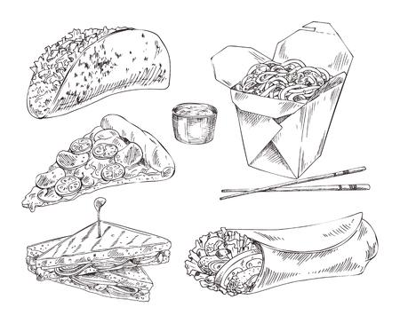 Snack Bar Take Away Meal Illustation Sketch Set Stock fotó