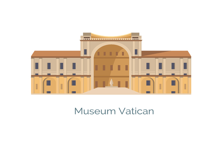 Vatican Christian and Art Museums Vector Poster Illustration