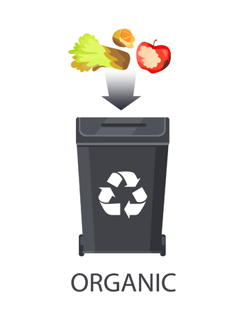Icon of trash box for organic waste color banner isolated on white backdrop vector illustration, dark arrow and food refuse, fruits and vegetables set