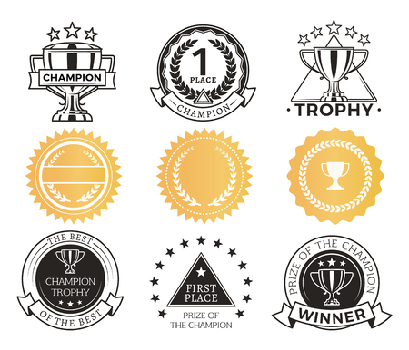Champion Stickers Collection Vector Illustration Stock Illustration - 110476655