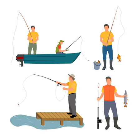 Fishing Process Isolated on White Vector Banner