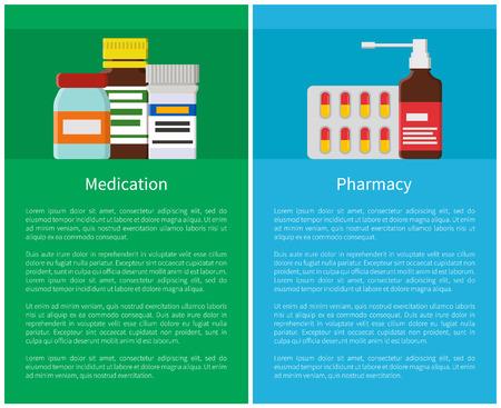 Pharmacy Medicine Items Set Vector Illustration