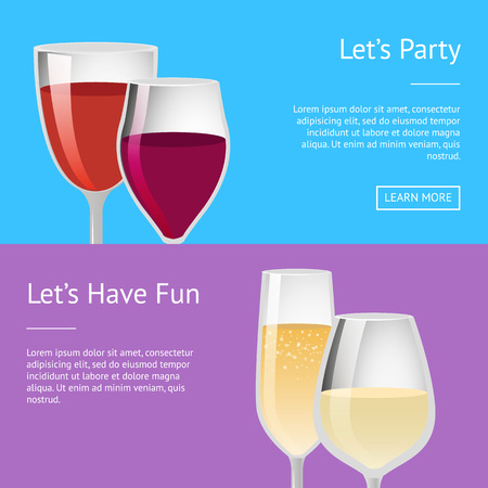 Lets party and have fun pair glasses of red white wine, elite classical alcohol drinks in transparent glassware, champagne winery web posters 向量圖像