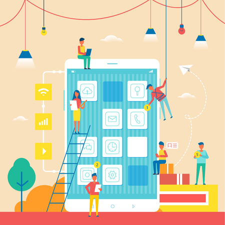 Abstract Social Life Colorful Vector Illustration