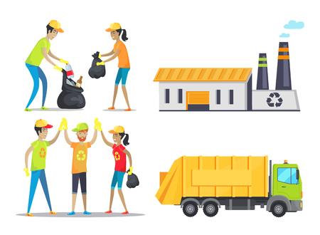 Happy Volunteers Working, Vector Illustration