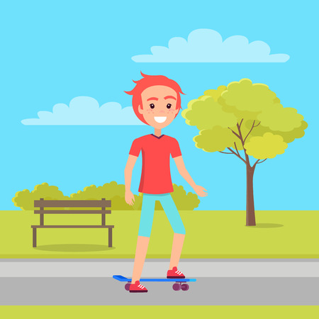 Active Teenager and Park, Vector Illustration