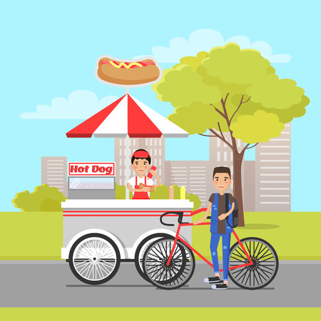Hot Dog Van and Client on Sport Bike Vector Card