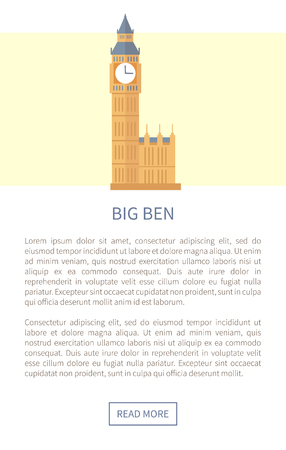 Big Ben Web Page and Text Vector Illustration