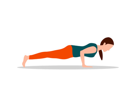 Push Ups Exercises and Yoga Vector Illustration Banco de Imagens