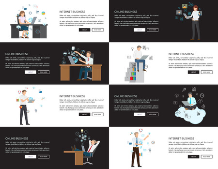 Internet Business Pages Set Vector Illustration