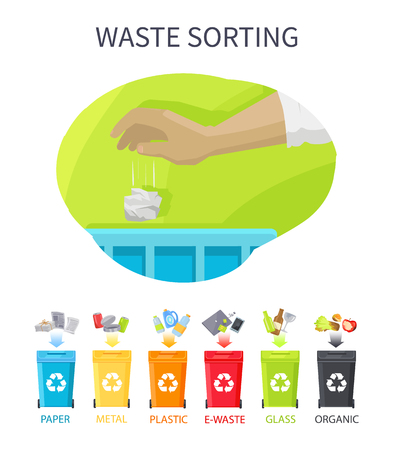 Waste Sorting Poster and Bins Vector Illustration