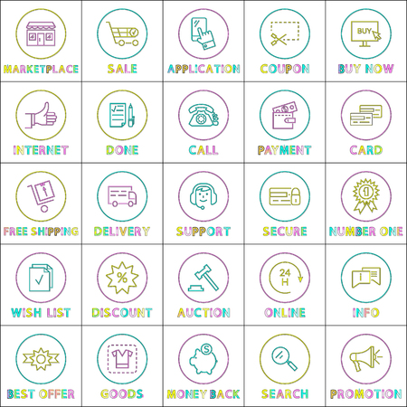 Marketplace and sale posters set with phone, installed application to receive best discounts, coupons. Adding goods to wishlist vector illustration