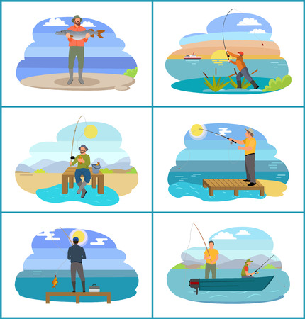 Fishing people surrounded by nature and seascapes. Images set man wearing special uniform and hats. Males floating on blue boat vector illustration Ilustração