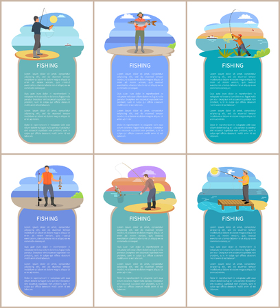 Fishing posters with headlines, text samples. People wearing waders protective hat and special clothes. Men catching fish hobby vector illustration