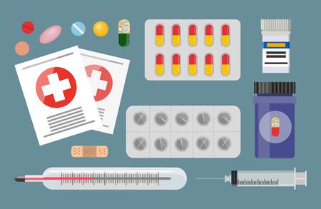 Medicaments set pill blisters and syringe. First aid for patients and kit with medicine. Thermometer for temperature measurements vector illustration Illustration
