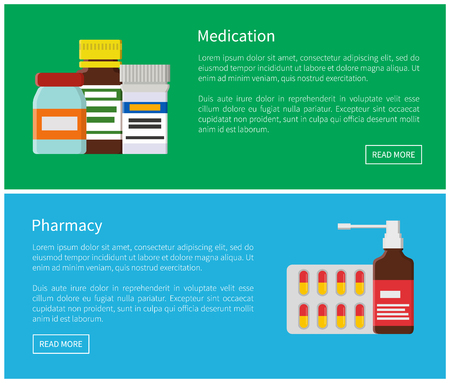 Medication and pharmacy production web posters with pills blister capsules, inhaler bottles, treatment and doctor prescription, vector illustration