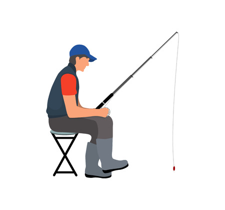 Cartoon style angler sitting on folding chair with a fishing tackle waiting for fish color vector illustration. Idea for informative fishery poster.