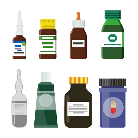 Pharmacy production bottles set having labels and information about medicine. Medical treatment syrups and liquids isolated on vector illustration Ilustrace