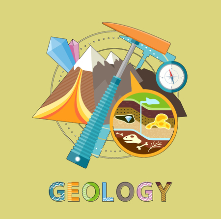 Geology excavations and geological researches. Pick and compass equipment, closeup of ground layers 矢量图像