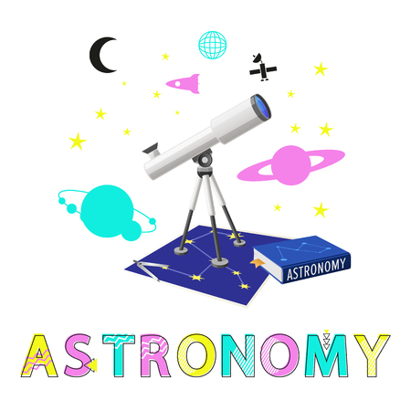 Astronomy poster and headline. Telescope and universe exploration of outer space. Planets set with stars and unknown galaxies vector illustration