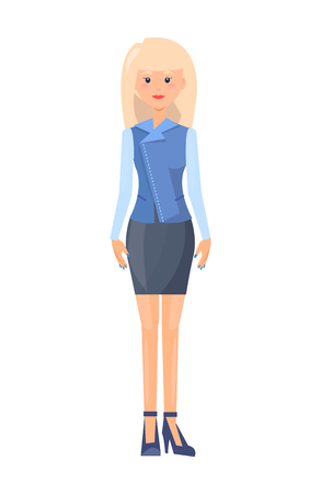 Pretty lady in official suit, clothing template, fashionable blue shirt with bright sleeves, vogue short skirt, stylish shoes, vector illustration.