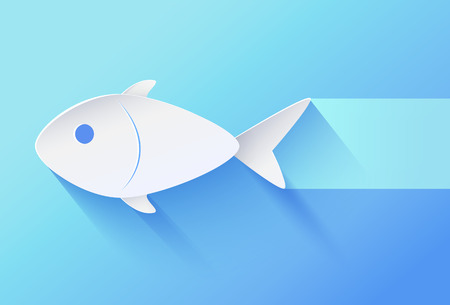 White paper cut relief and shadowed fingerling minimalistic vector illustration. Fish bellied icon on gradient blue background with bluish track. Banco de Imagens - 110757416