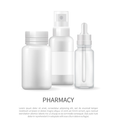 Pharmacy Poster Nasal Spray and Container Capsule Stock Illustratie