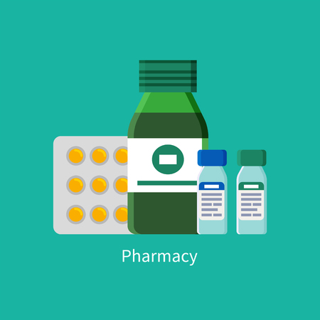 Pill and Capsules in Blister Vector Illustration