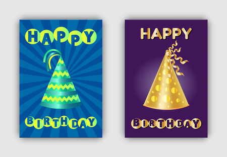 B-day paper caps with golden dots and abstract patterns, topped by ribbons vector. Happy Birthday banners glittering realistic hats decorative headwear