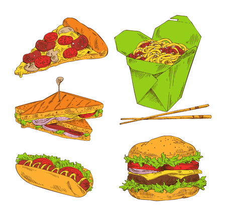 Pizza hot dog sandwich noodle and big hamburger isolated on white background vector illustration of fast food, collection of different appetizers