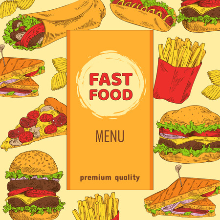 Fast food menu with premium quality colorful card, background consist from snacks, burgers with burrito, fried potato crisps and pizza near hot dog