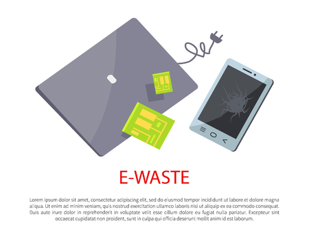 E-waste banner with broken electronic gadgets, isolated on white backdrop vector illustration of grey laptop and phone with beaten screen, chips set