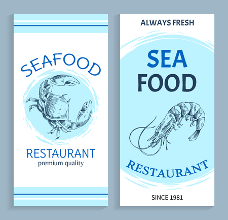 Best quality seafood restaurant hand drawn banner. Shrimp and crab marine products vector illustration in sketch style on white with blue backdrop.
