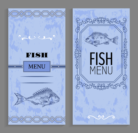 Fish menu with linear silhouettes of perch. Sea bass sketch at bottom of vector cover for restaurant or cafe, in frame with curls and ornament at edges Illustration