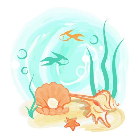Opened Light Orange Sea Shell with Shiny Pearl Illustration