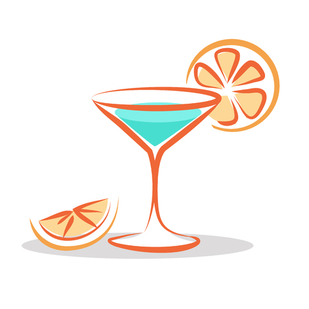 Martini Cocktail Cartoon Style Isolated on White