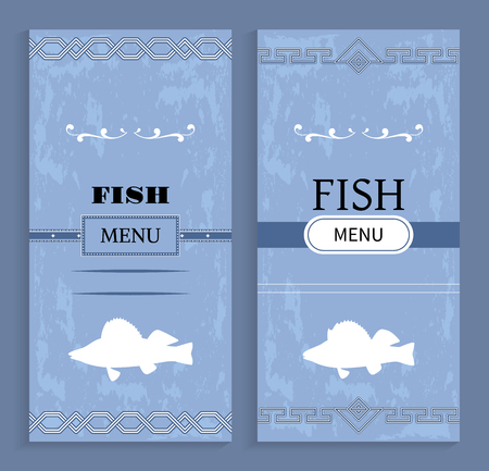 Elegant Vintage Vector Seafood or Fish Menu Idea