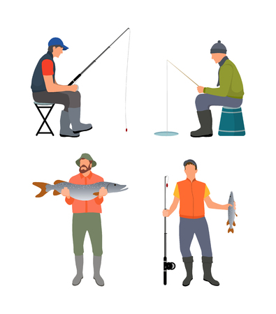 Sitting and standing fishermen colorful poster, fishers on chairs with fishing rods, vector illustration of male hobby, joyful people with big catch