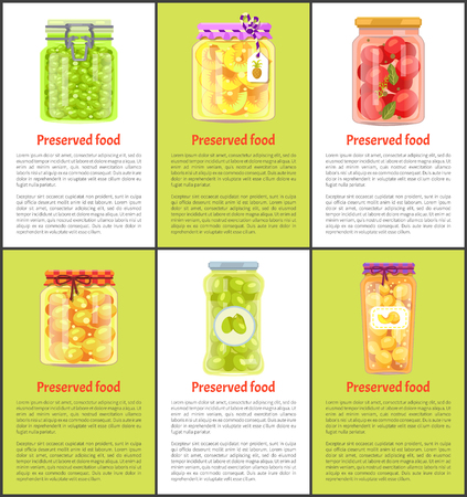 Preserved Fruit and Vegetables Set Vector Icon Фото со стока - 111002721