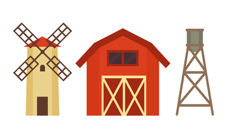 Cowshed with Windmill and Boiler on Metal Stand 向量圖像