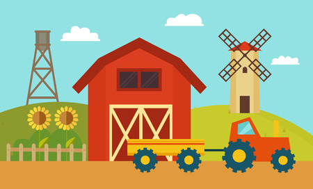 Farm with Windmill and Tractor Vector Illustration
